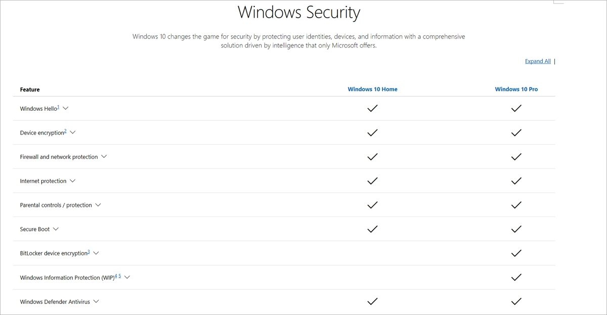 Table comparing security features of Windows 10 Home and Pro editions