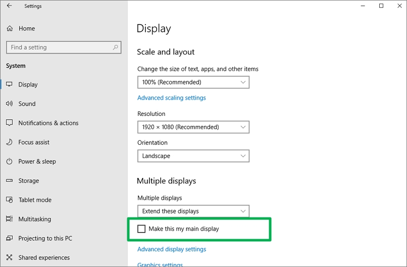 Settings System Display screen, main display check box