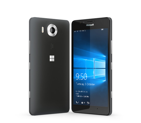 Two black Lumia 950 phones with one facing backward and the other facing forward with Windows 10 lock screen