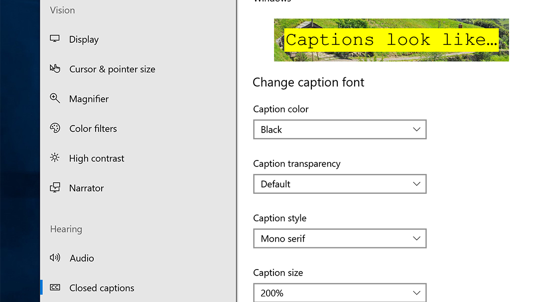 Windows 10 closed captions ease access to video