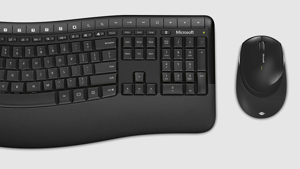 Microsoft Comfort Wireless keyboard and mouse as seen from above