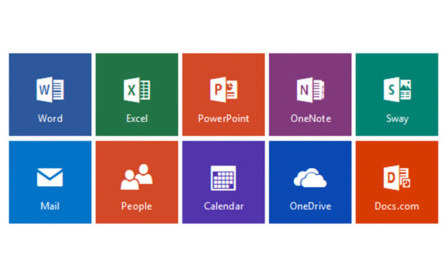 Office service icons, including Word, Excel, etc.