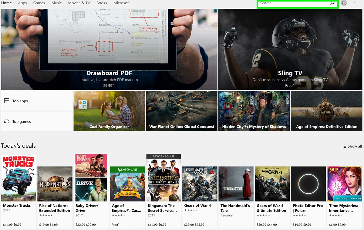 Screenshot of Microsoft Store app Home page