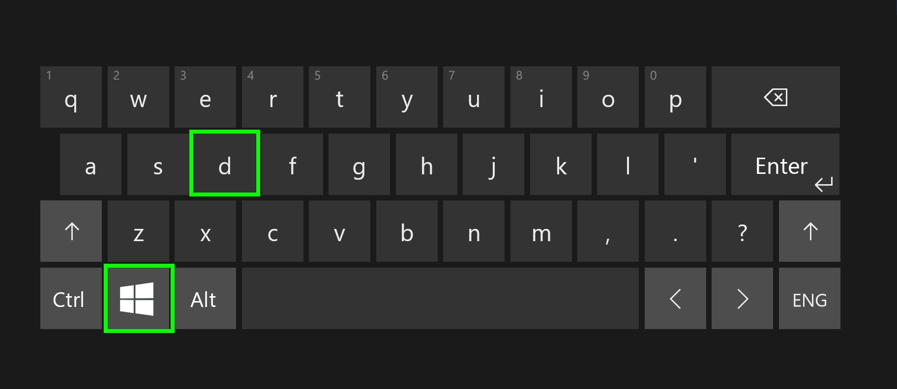 Digital keyboard with highlighted shortcut Windows and D