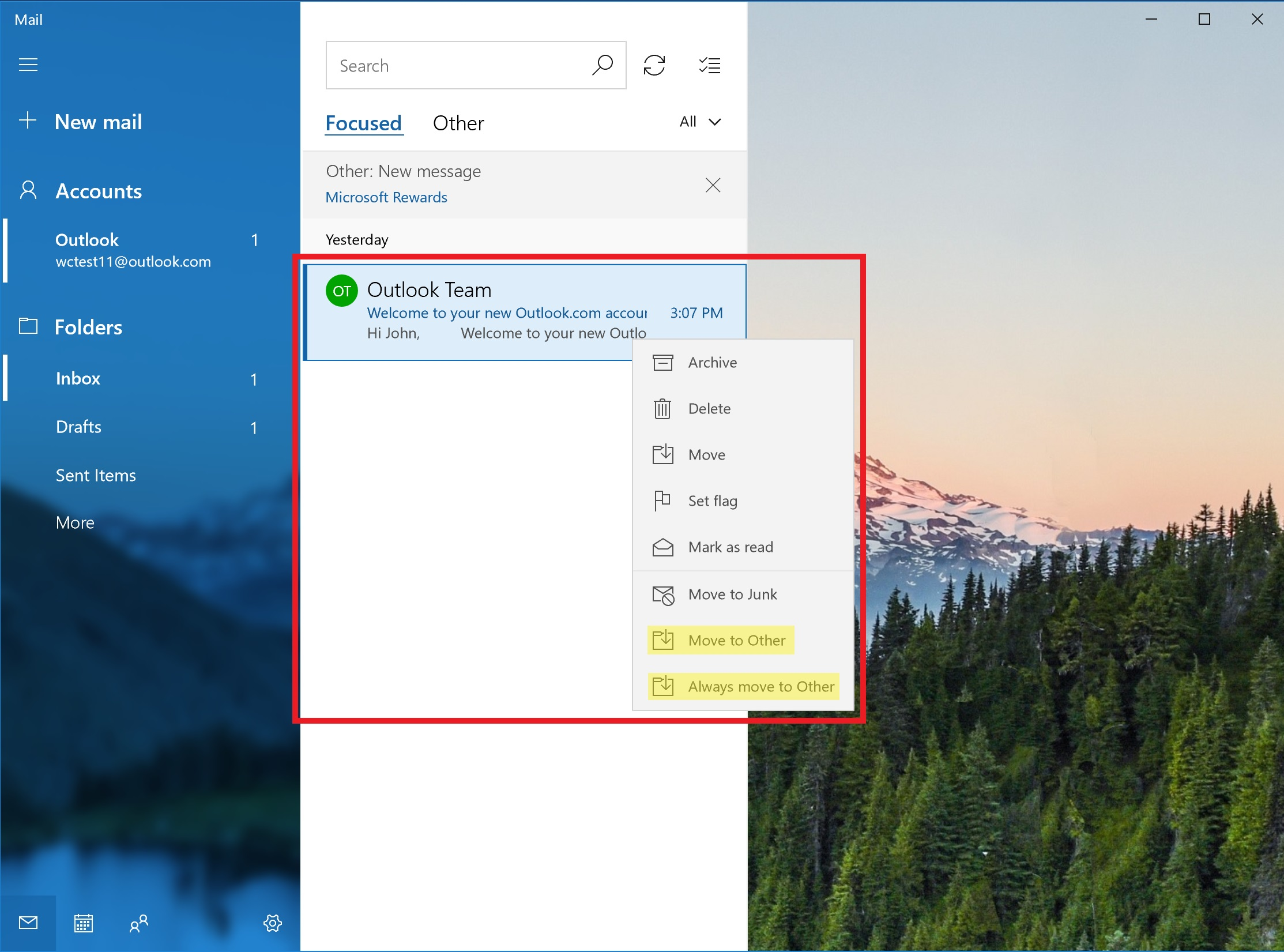 Mail app email management options