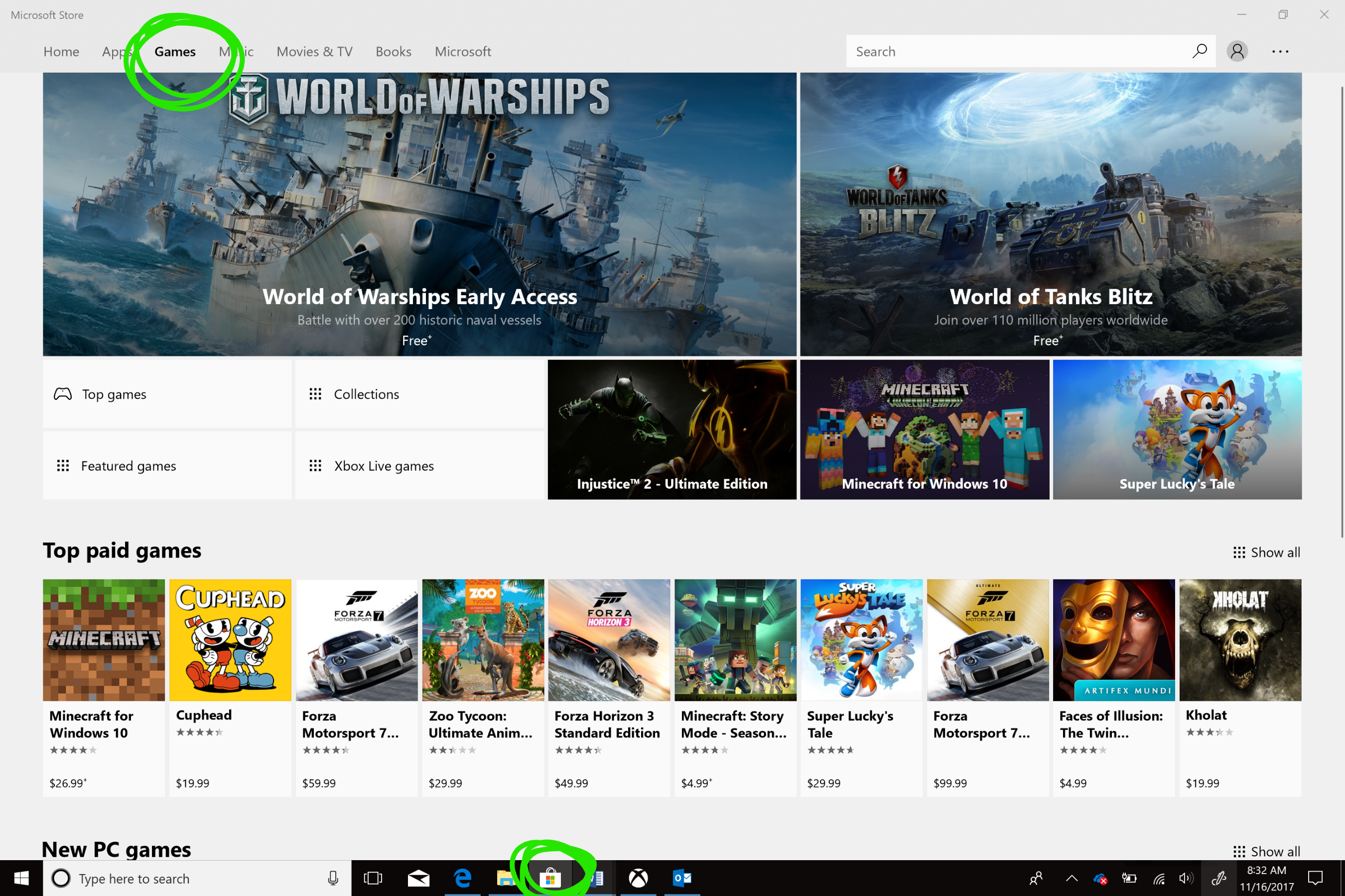 Microsoft Store Games page