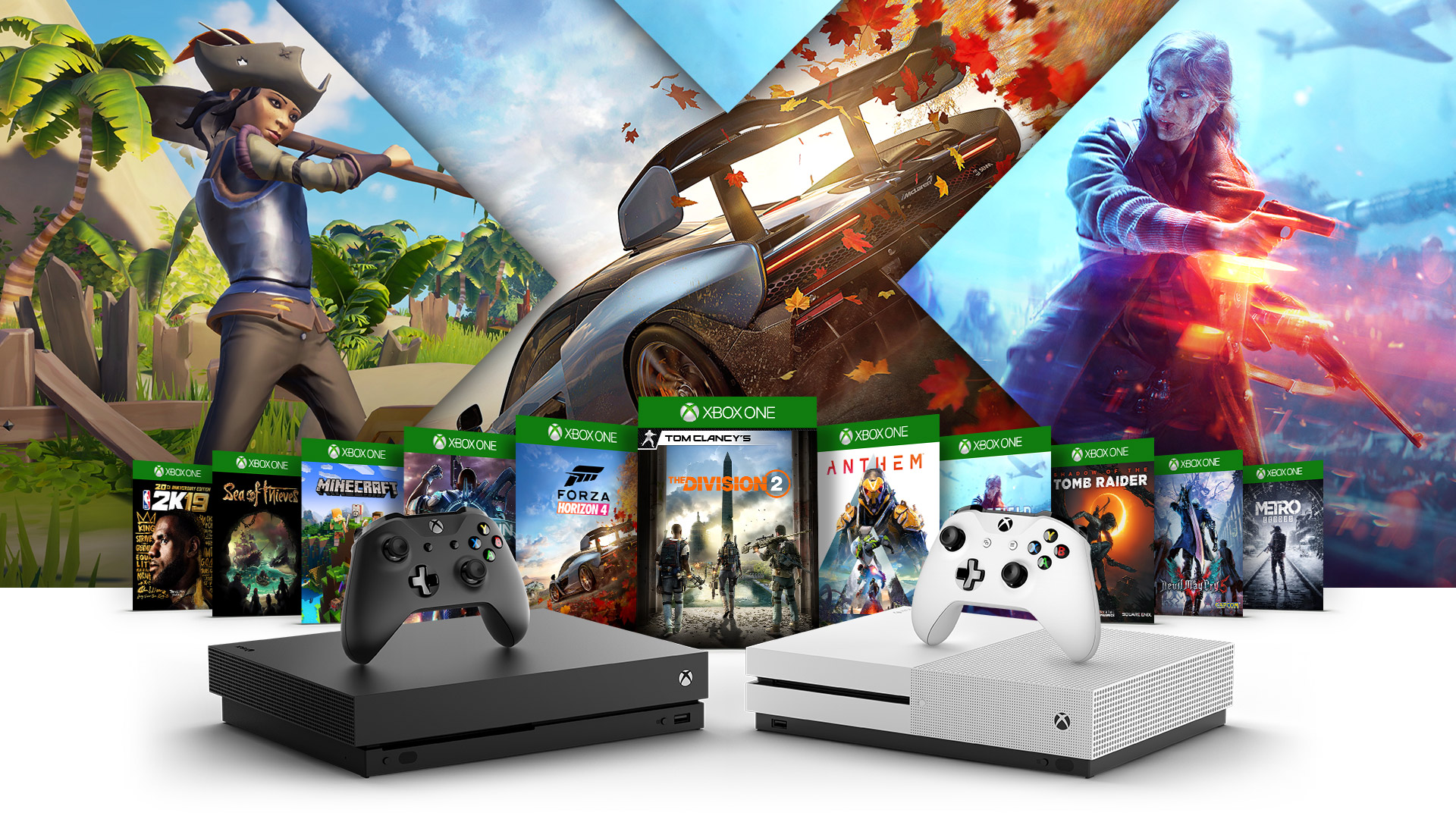 Crackdown 3, Sea of Thieves, Minecraft, Madden 19, 2K19, Forza Horizon 4, Fallout 76, Battlefield Five, Shadow of the Tomb Raider, PlayUnknown Battlegrounds ve State of Decay 2 kutu resimleriyle çevrili Xbox One X, Xbox One S ve Xbox One S All Digital Edition konsollarının yandan görünümü