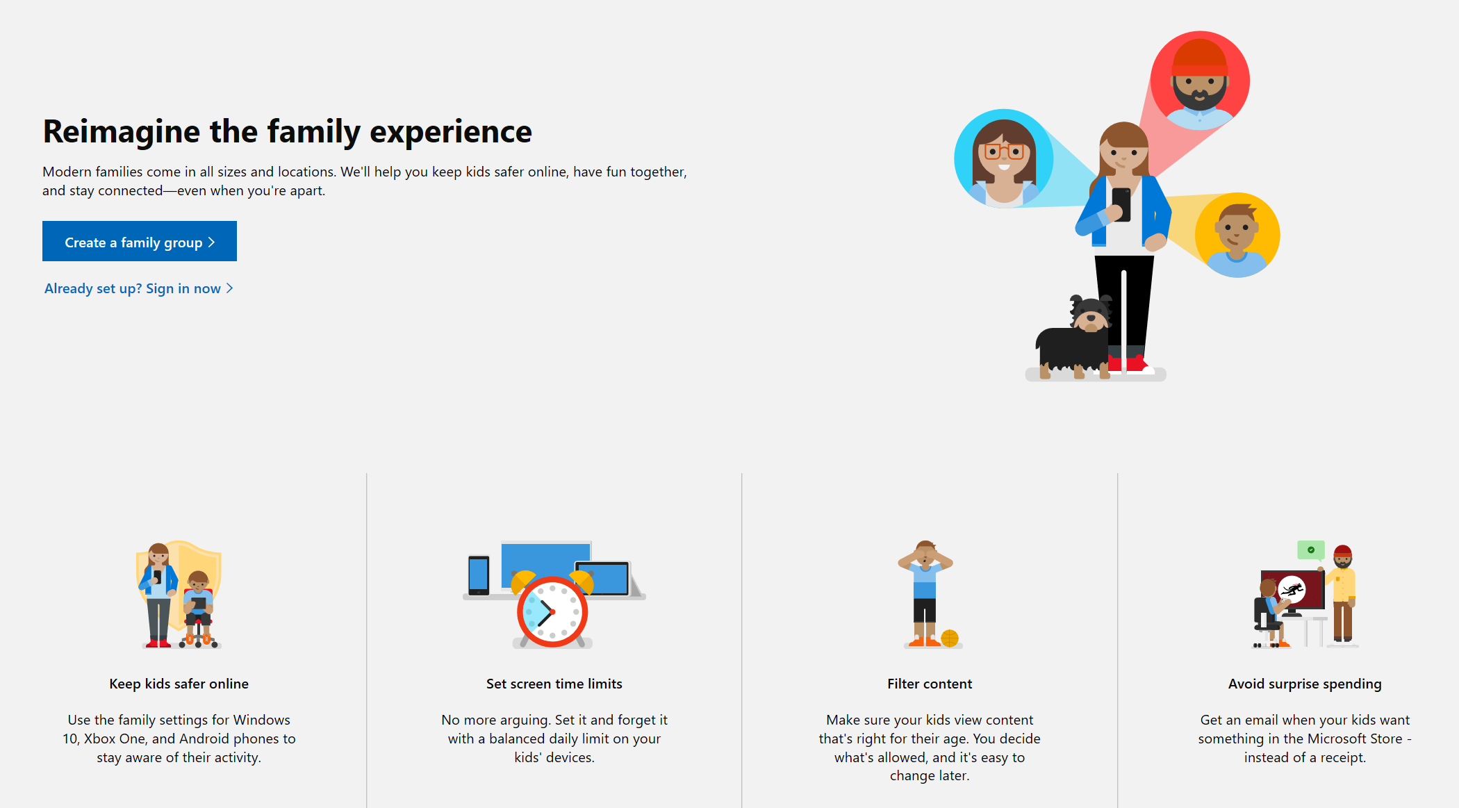 Screenshot of Microsoft Family website