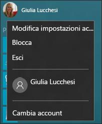 Opzioni del menu dell'immagine dell'account nel menu Start