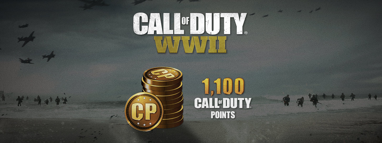 a stack of Call of Duty Point coins with soldiers storm beach in Normandy in the background