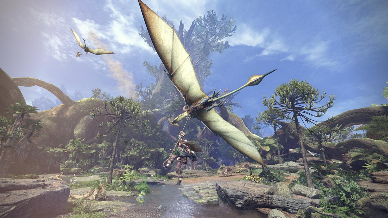 Персонаж использует гарпун, чтобы прокатиться под летающим существом