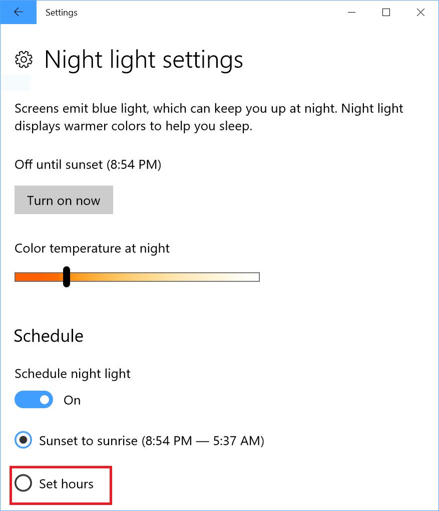 Screenshot of Night light settings page