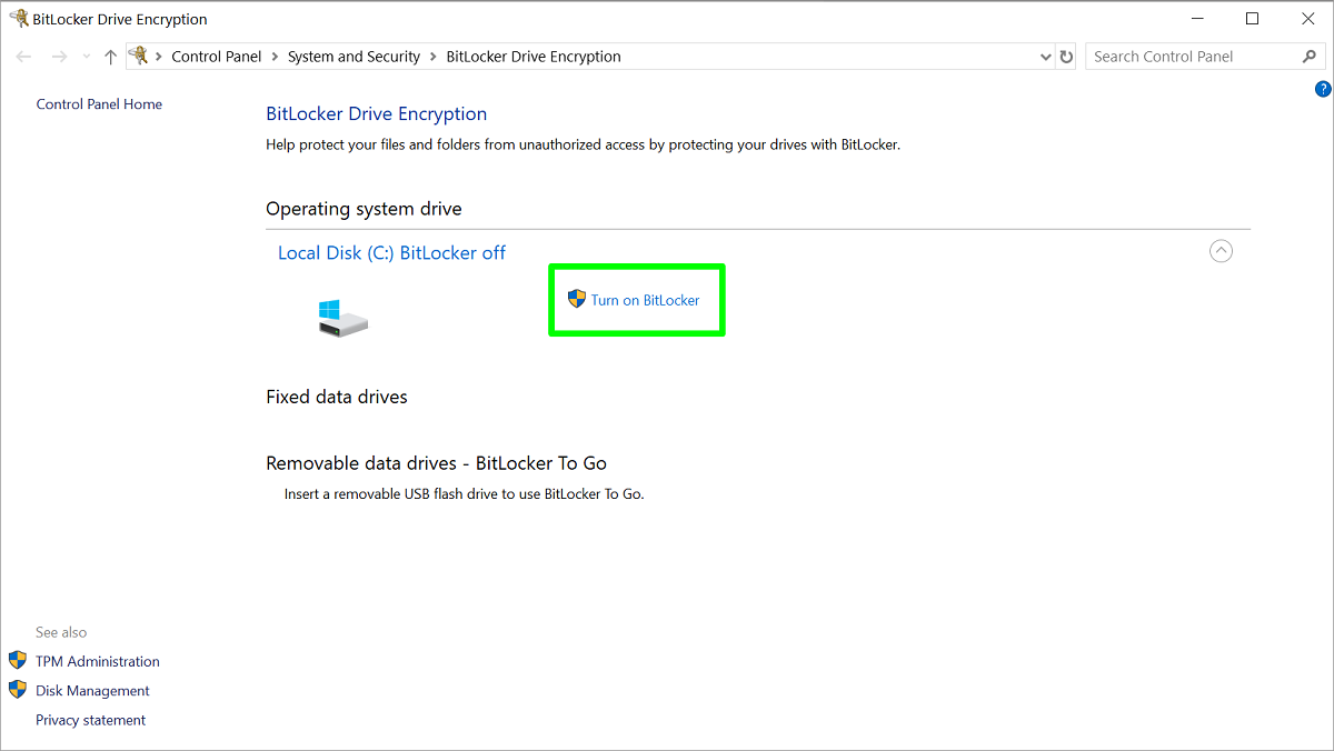 Screenshot of Turn on BitLocker settings page