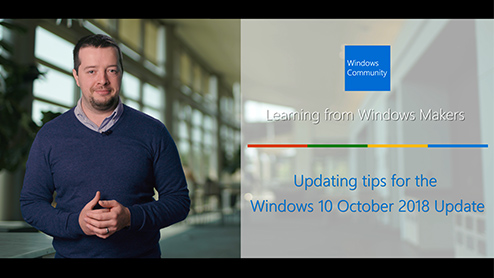 Updating tips for the Windows10 October 2018 Update