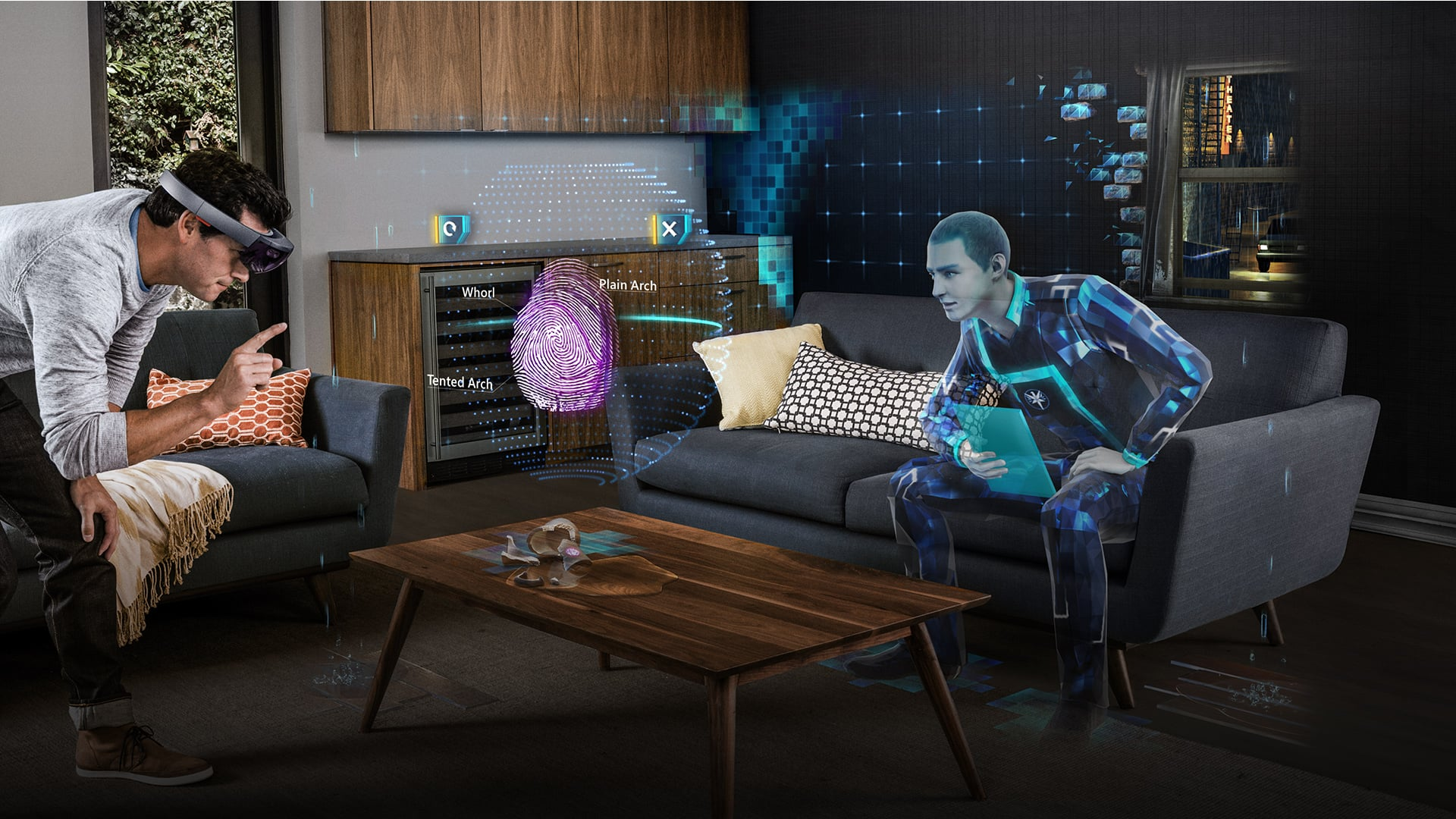 Man wearing HoloLens, analyzing a holographic fingerprint floating on a coffee table as a holographic colleague, sitting on couch, looks on
