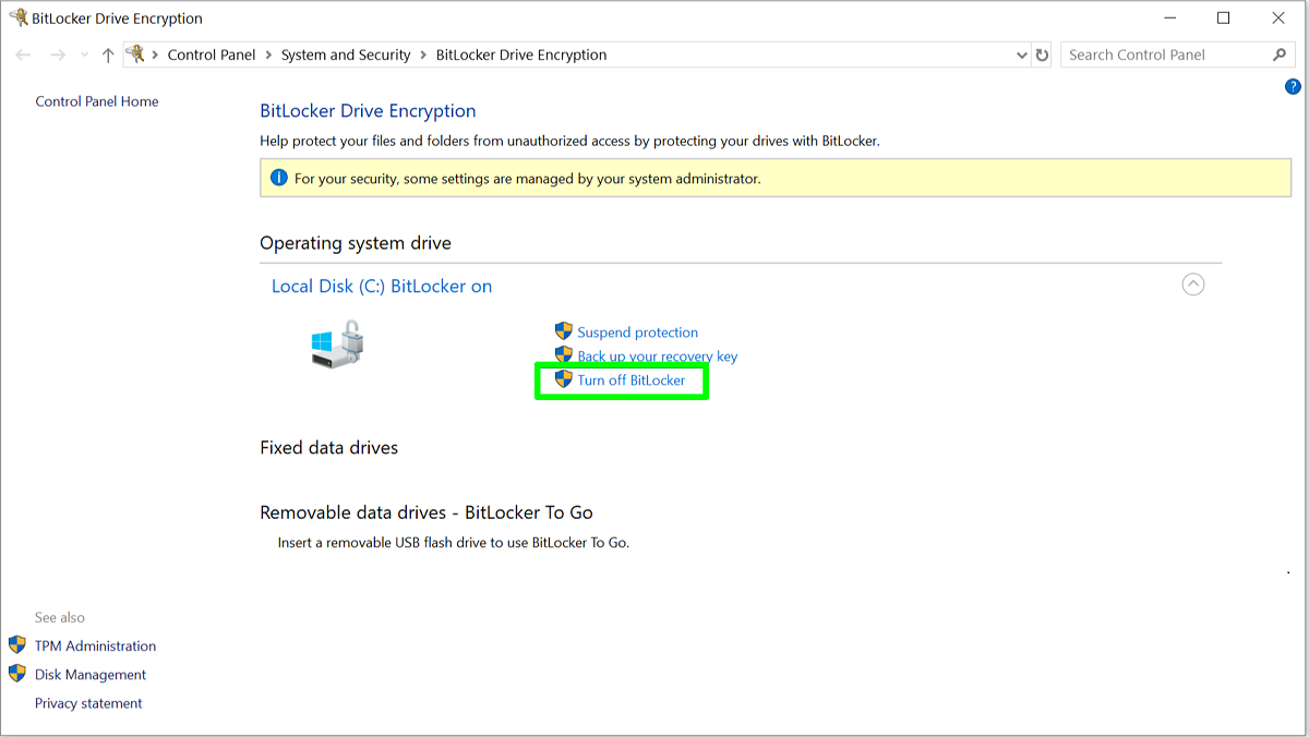 Screenshot of BitLocker settings page