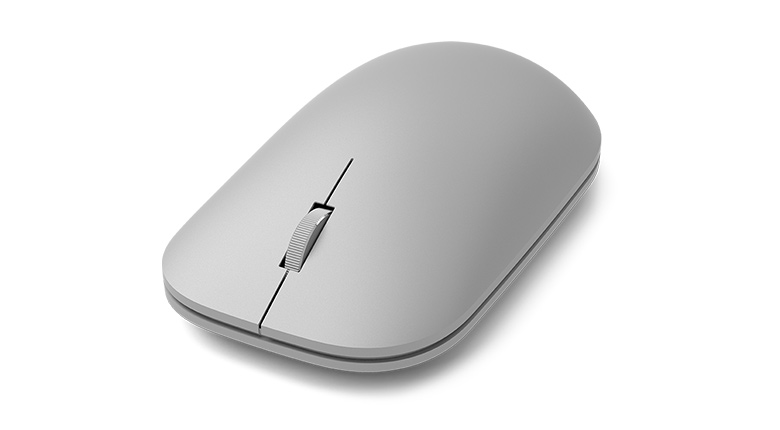 Microsoft Surface Mouse in Gray Quarter Front View