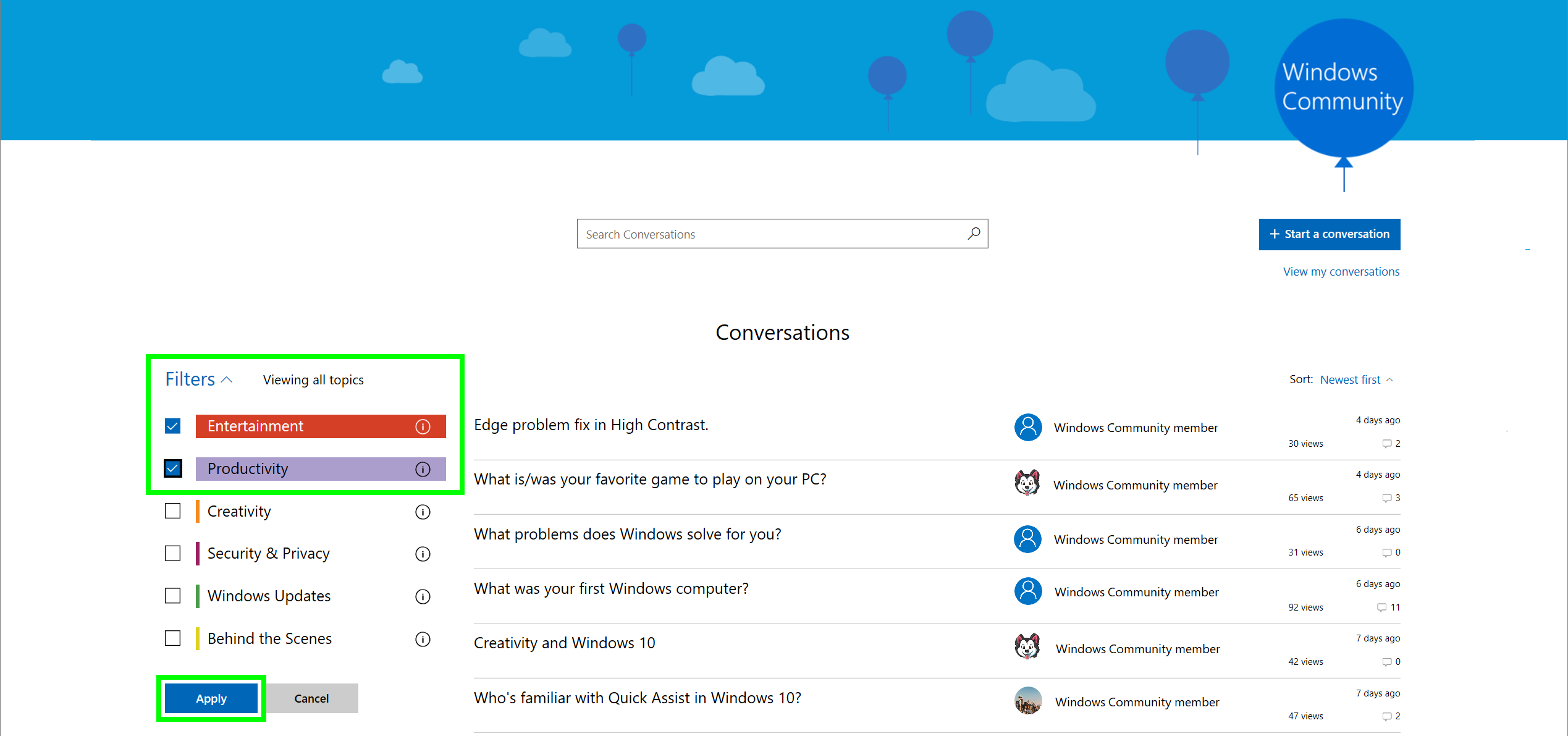 Screenshot of Windows Community Filter Conversations
