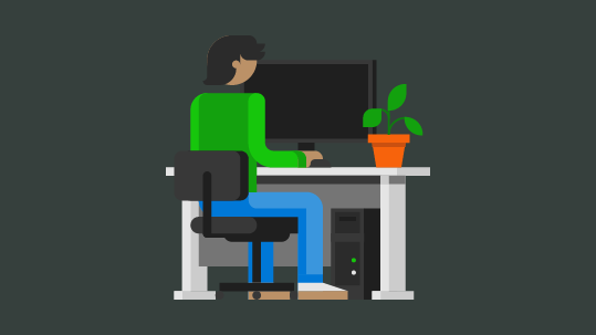 Animated man using his laptop with animated Microsoft service icons hovering above, including Office and Xbox Live. One place to manage your Microsoft account.