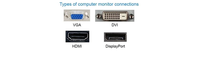 VGA, DVI, HDMI, and Display port types