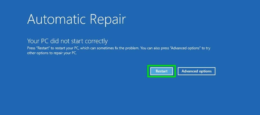 Safe mode automatic repair restart