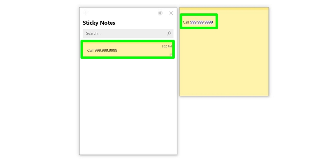 Screenshot of phone number insights in Sticky Notes