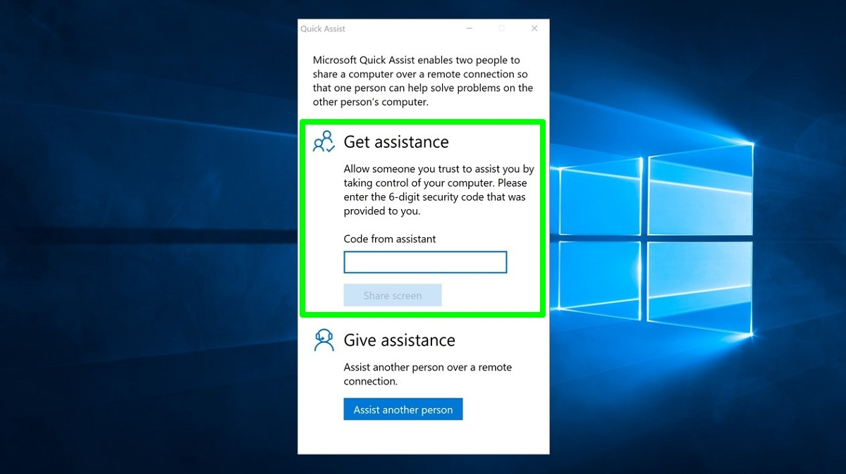 Screenshot of Quick Assist Get assistence setting