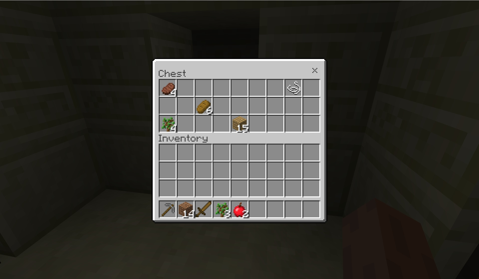 Minecraft resource chest and inventory window