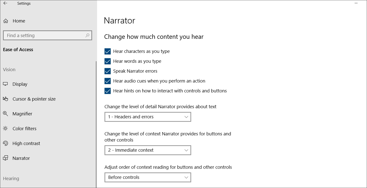 Screenshot of Narrator settings