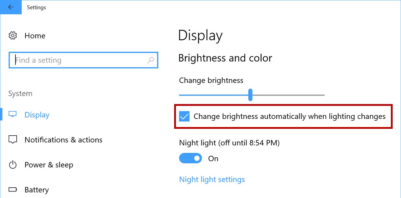 Screenshot of Display settings: Brightness and color