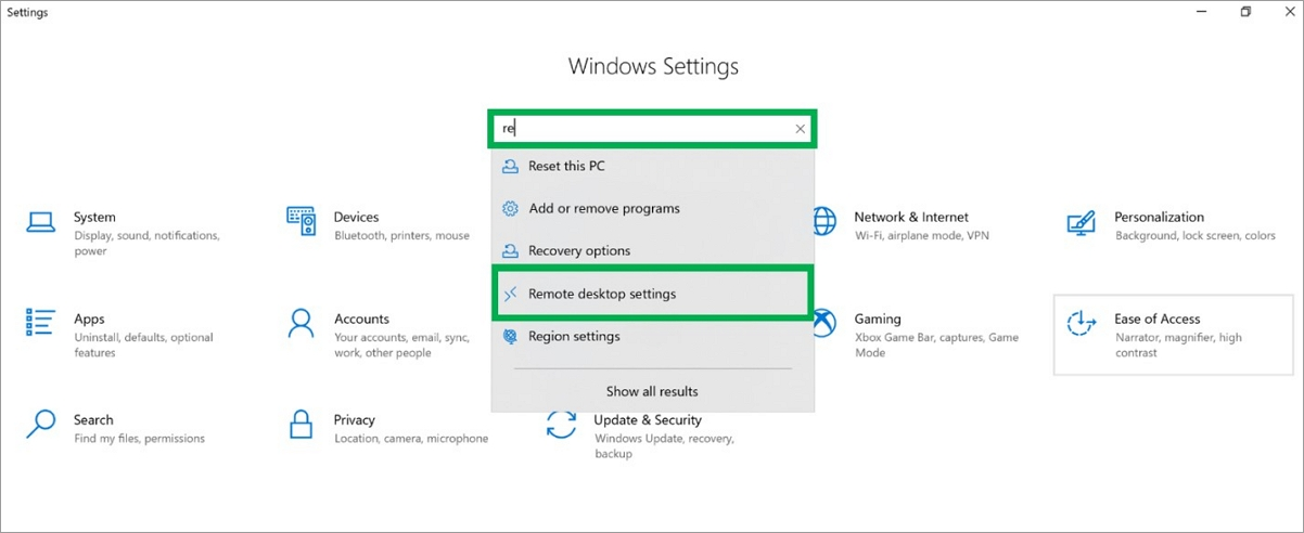 Windows_Remote desktop Settings
