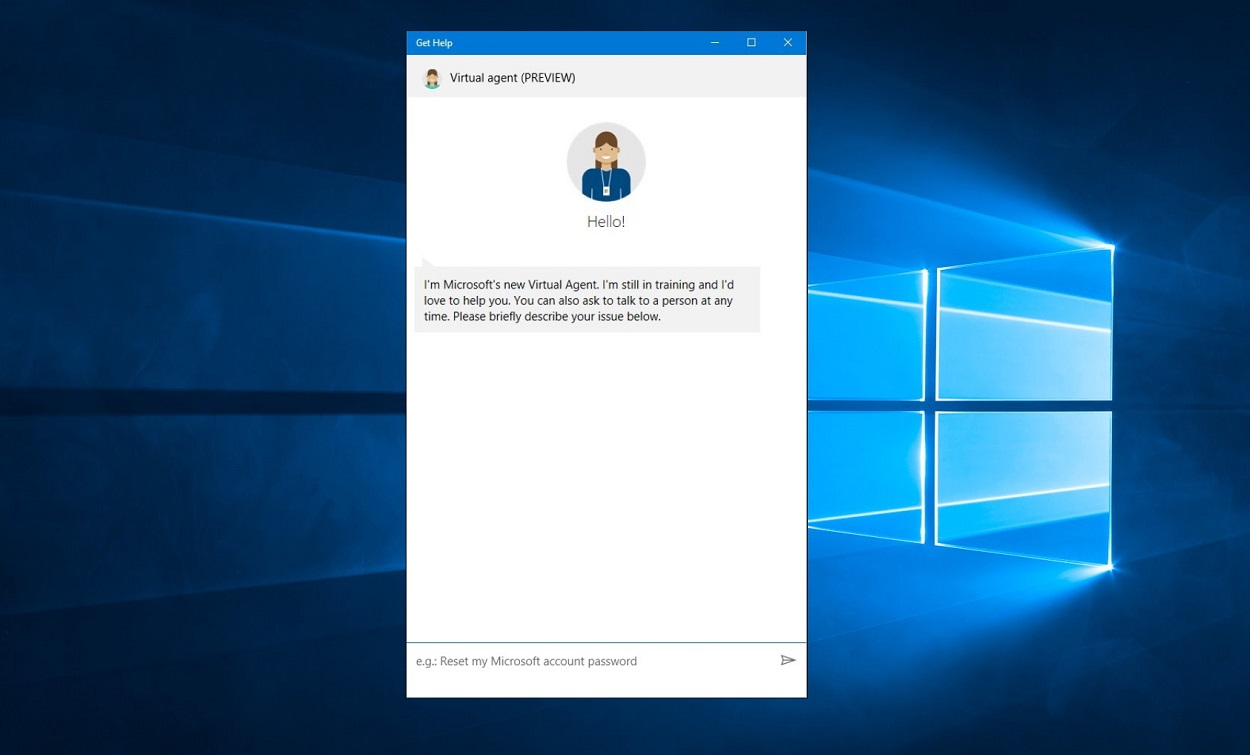 Screenshot of a Get Help app's Microsoft Virtual Agent