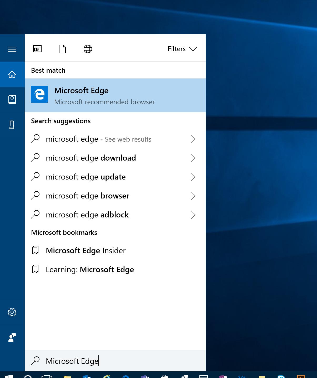 Microsoft Edge icon pinned to the Start menu