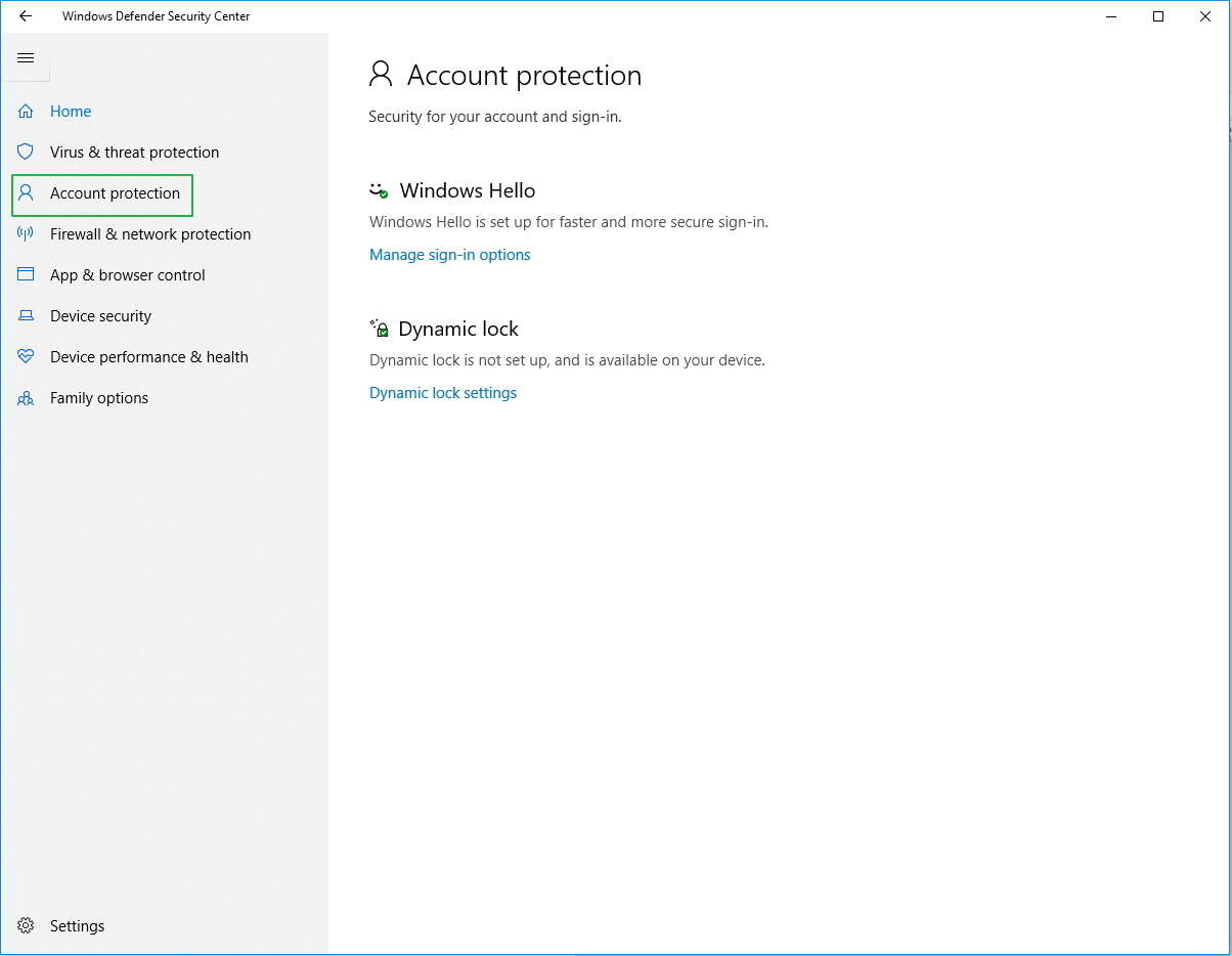 Screenshot of Account protection settings