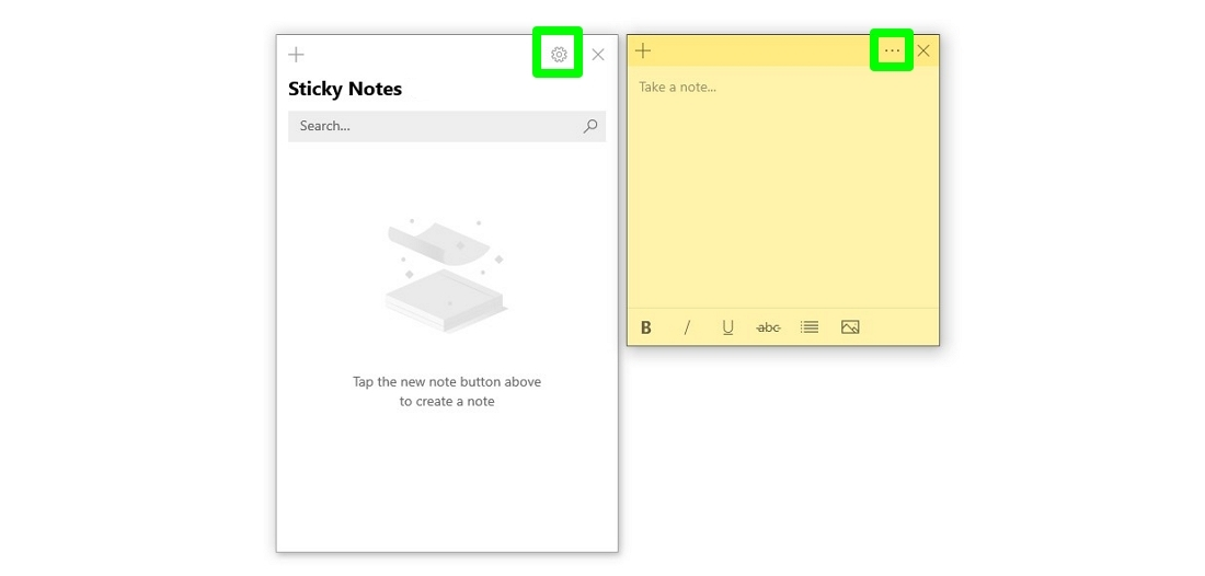 Screenshot of Sticky Notes Settings icon