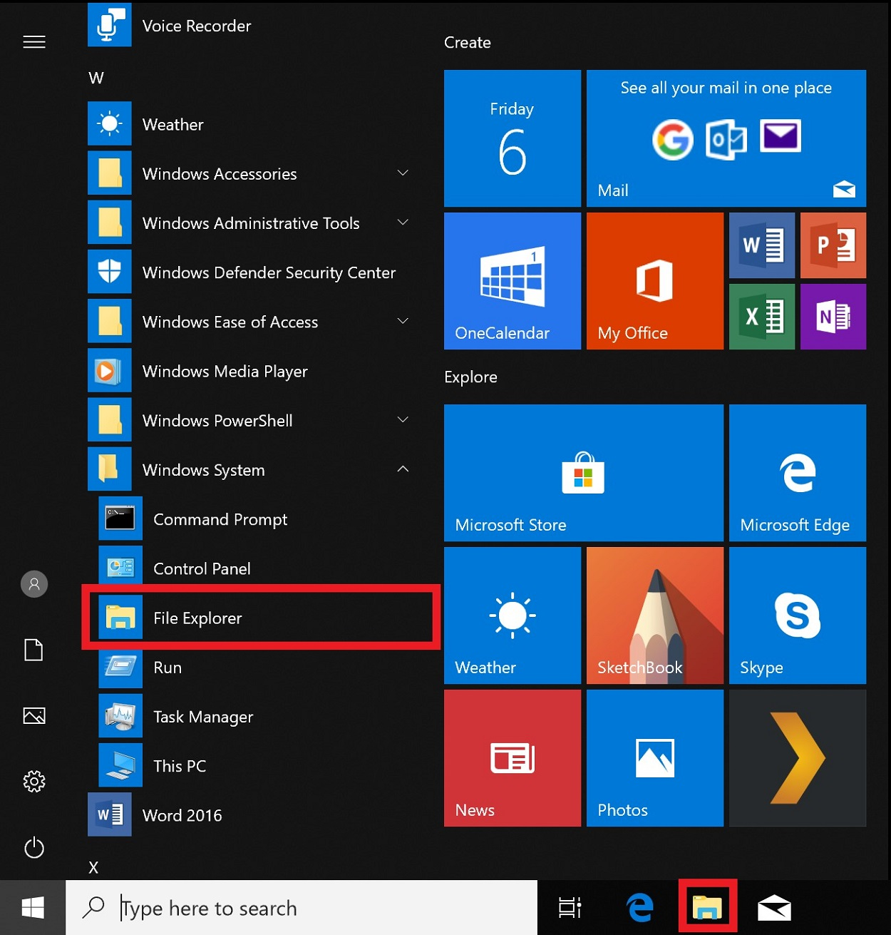 Screenshot of Start menu folders and tiles