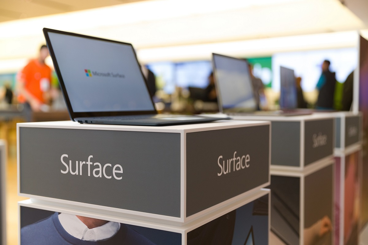 Surface stand at a Microsoft Store