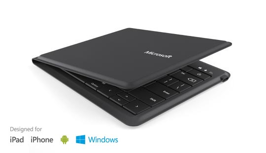 Microsoft universal foldable keyboard with text designed for iPad, iPhone, Android, Windows
