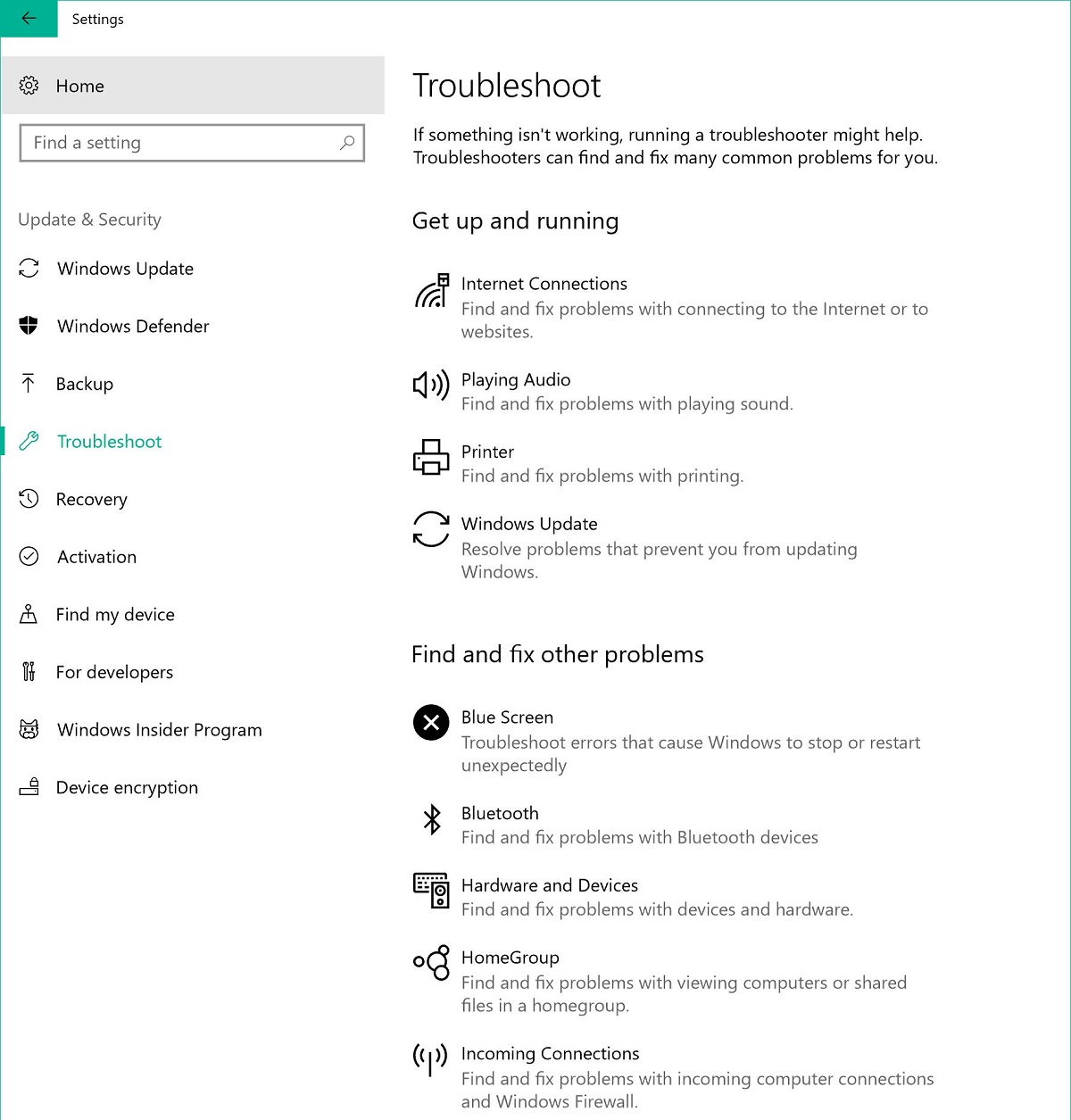Screenshot of Troubleshoot tab in Windows settings